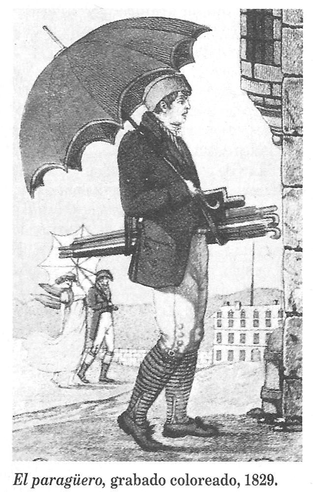 PARAGUAS EL PARAGÜERO GRABADO COLOREADO 1829 lluvia y el arbol de los paraguas arrebossart lateru82 lagunas tello ruben